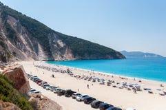 Bella spiaggia di Myrtos sull'isola di Kefalonia Fotografia Stock Libera da Diritti