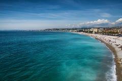Bella spiaggia di Nizza, Francia Fotografia Stock