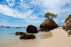Bella spiaggia di Setubal nel Portogallo Fotografia Stock