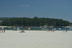 Bella spiaggia di Silgar a Sanxenxo fotografia stock