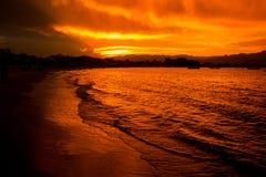 Bella spiaggia di tramonto nel Brasile del sud Immagini Stock