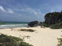 Bella spiaggia di Tulum! Fotografie Stock Libere da Diritti