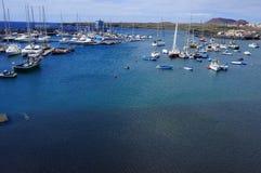 Bella spiaggia di vista di occhio dell'uccello dalle isole Canarie Fotografia Stock