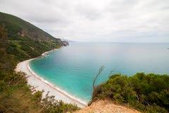 Bella spiaggia Jaz di panorama nel Montenegro, Mediterraneo Fotografia Stock