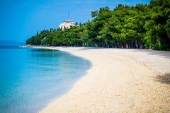 Bella spiaggia Mediterranea blu azzurrata circondata dagli alberi Immagine Stock Libera da Diritti
