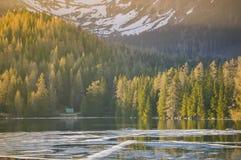 Bella spiaggia nel lago Fotografie Stock