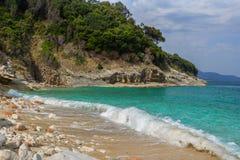 Bella spiaggia per una festa in Albania Mare ionico fotografie stock libere da diritti