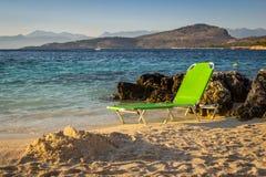 Bella spiaggia per una festa in Albania Mare ionico immagini stock libere da diritti