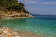 Bella spiaggia per una festa in Albania Mare ionico fotografia stock