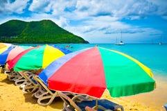 Bella spiaggia in Santa Lucia Immagine Stock