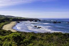 Bella spiaggia sulla strada principale di Big Sur Immagini Stock
