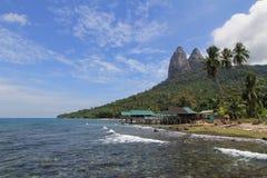 Bella spiaggia tranquilla dell'isola di Tioman, Malesia Immagini Stock