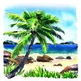 Bella spiaggia tropicale con la palma, panorama di vista sul mare, illustrazione dell'acquerello Fotografie Stock Libere da Diritti
