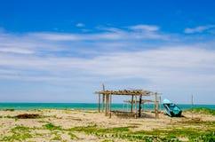 Bella spiaggia tropicale nella costa dell'Ecuador Immagini Stock Libere da Diritti