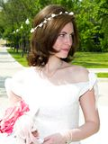 Bella sposa alla sosta Fotografie Stock Libere da Diritti