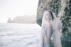 Bella sposa castana della ragazza in un abito grigio di pizzo e di Tulle, coperto il suo fronte di velo, mano sul seno, fotografia stock