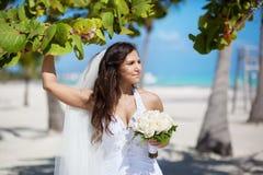 Bella sposa caucasica che posa ad una spiaggia tropicale Fotografie Stock Libere da Diritti