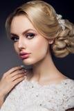 Bella sposa con l'acconciatura di cerimonia nuziale di modo Fotografie Stock Libere da Diritti