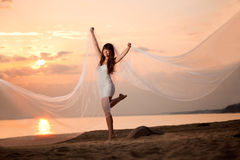 Bella sposa con un velo lungo sulla spiaggia al tramonto Immagini Stock Libere da Diritti