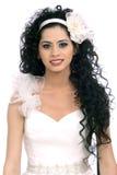 Bella sposa del Brunette con capelli ricci lunghi Fotografie Stock