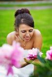 Bella sposa e peony dentellare Fotografia Stock