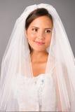 Bella sposa sotto il vestito da velare in studio Fotografie Stock
