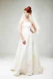 Bella sposa in un vestito da sposa lussuoso immagini stock