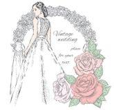 Bella sposa vicino all'arco di nozze e belle rose Illustrazione di vettore per una carta o un manifesto illustrazione vettoriale
