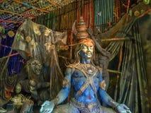 Bella statua dell'argilla di Lord Shiva, Kumartuli, Calcutta, Calcutta fotografia stock