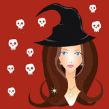 Bella strega in black hat Immagini Stock Libere da Diritti