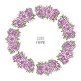 Bella struttura floreale di vettore Illustrazione Fondo Corona sveglia fatta dei fiori disegnati a mano Inviti d'annata Tex senza Immagini Stock