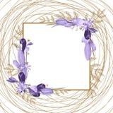 Bella struttura per il vostro testo dai fiori dipinti illustrazione vettoriale