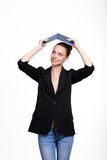 Bella studentessa con un libro Fotografia Stock