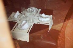 Bella tavola decorata di nozze Fotografie Stock