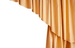 Bella tenda dorata di seta isolata su fondo bianco Immagini Stock