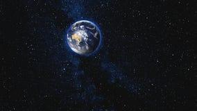 Bella terra blu con l'approccio satellite della luna illustrazione vettoriale