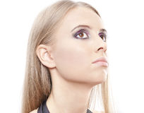 Bella testa della donna sopra bianco Fotografia Stock