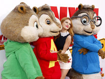 Bella Thorne, Alvin, Simon and Theodore Royalty Free Stock Photography