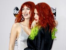 Bella Thorne and Dani Thorne. At the 2016 American Music Awards held at the Microsoft Theater in Los Angeles, USA on November 20, 2016 stock images