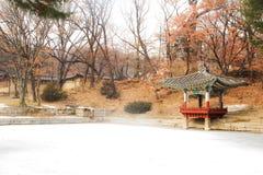 Bella torre del piede della neve della Corea del Sud Seoul Changgyeong fotografie stock libere da diritti