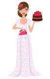 Bella torta di cerimonia nuziale della holding della sposa Fotografia Stock Libera da Diritti