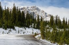 Bella traccia del paesaggio al lago Peyto al parco nazionale di Banff in Alberta, Canada fotografie stock