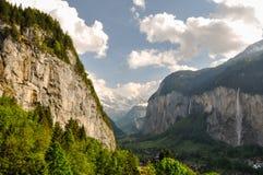 Bella valle di Lauterbrunnen in Svizzera Fotografia Stock Libera da Diritti