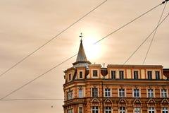 Bella vecchia casa nel centro della luce del sole di Wroclaw di mattina Fotografia Stock Libera da Diritti