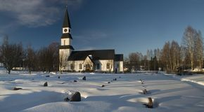 Bella vecchia chiesa svedese fotografia stock