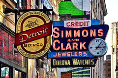 Bella via di Broadway a Detroit fotografia stock