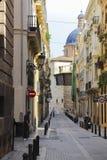 Bella via nel centro di Valencia Fotografie Stock