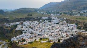 Bella vista aerea della città Lindos Immagini Stock Libere da Diritti