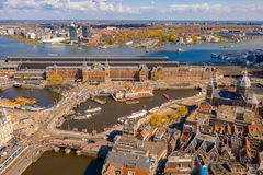 Bella vista aerea di Amsterdam da sopra fotografia stock
