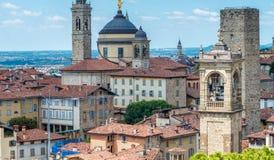 Bella vista aerea di paesaggio urbano di Bergamo Alta, Italia Immagine Stock Libera da Diritti
